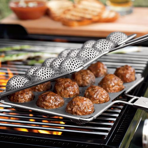Meatball Grill Basket Cooks One Dozen Perfect Meatballs At A Time is part of Grilling gadgets, Food, Cooking, Grill basket, Cooking gadgets, Food and drink - Grilling meatballs ain't easy  If you've ever struggled with the challenge of cooking mashedup ground mixtures curled into a ball over fire, you will probably