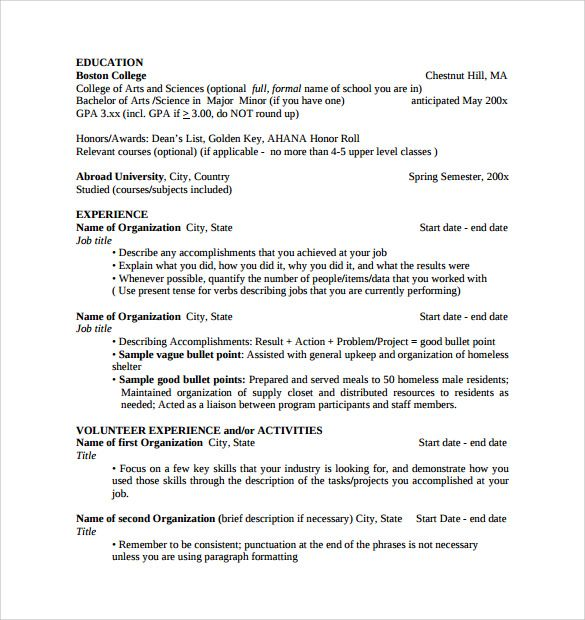 sample college student resume template download free documents - bullet points resume
