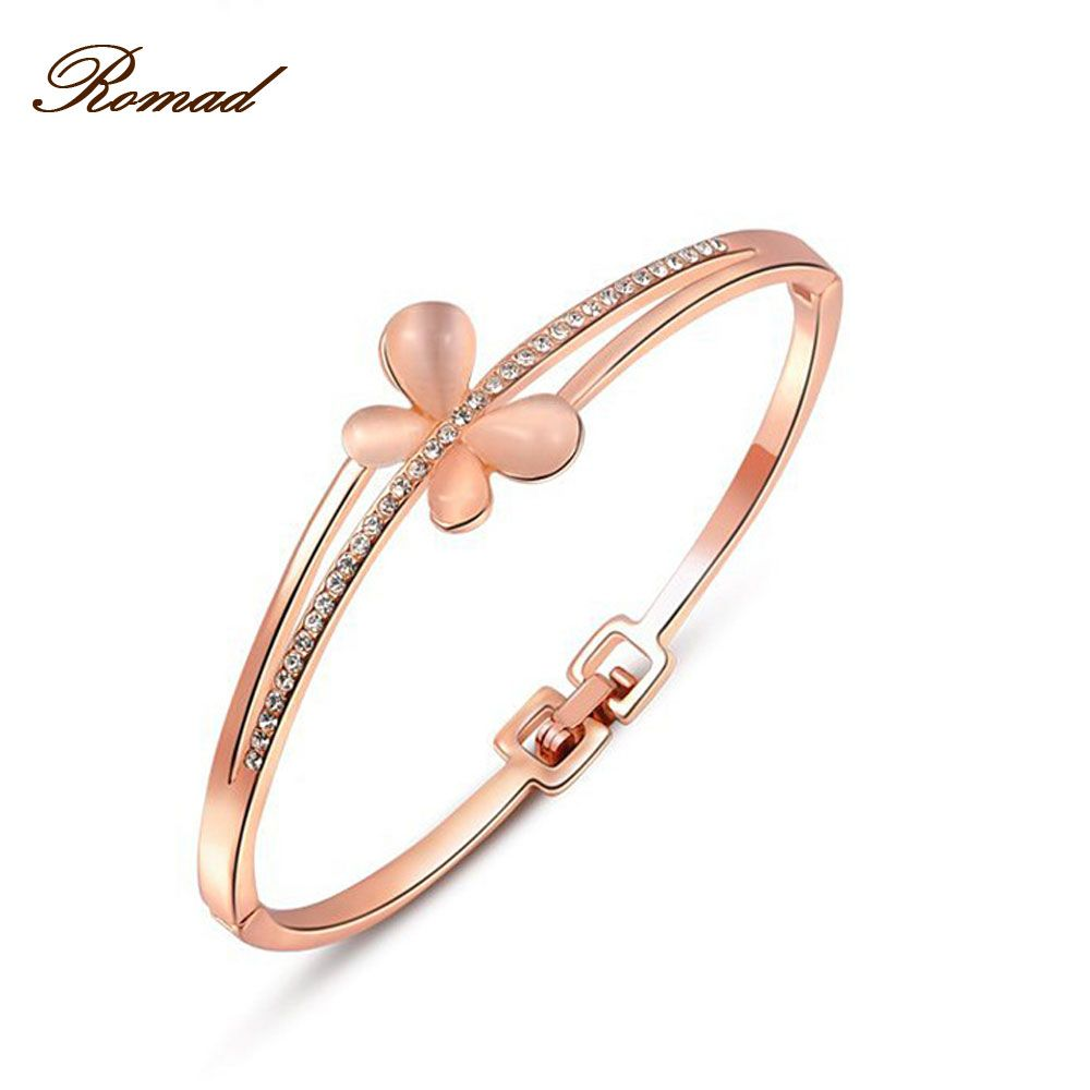 Click to buy ucuc charm opal butterfly bracelets for women bangle cuff