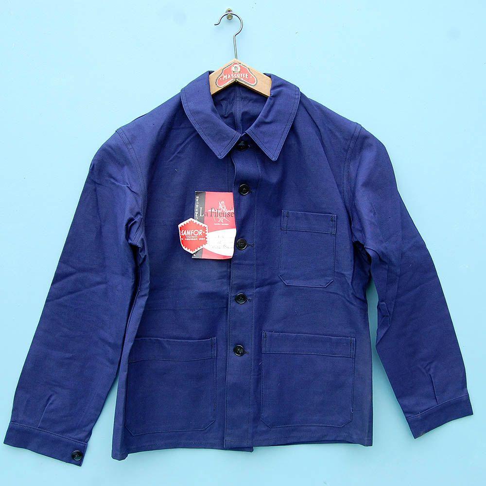 French workwear deadstock green jacket l85h6NUdi