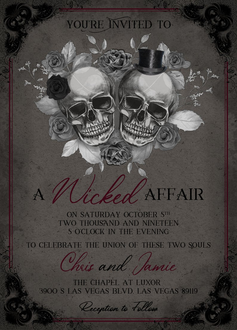 Gothic Wedding Invitation Skulls Wedding Invitation A Etsy In 2021 Gothic Wedding Invitations Skull Wedding Invitation Skull Wedding