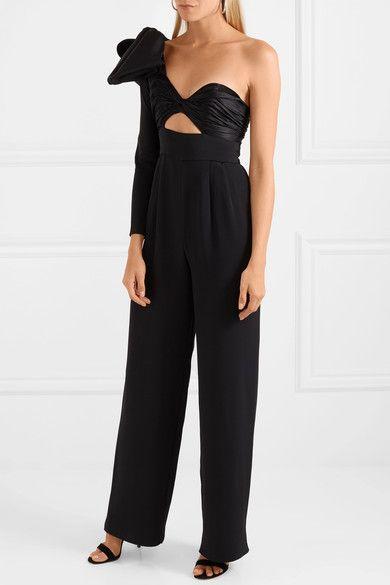 789cec31b2c Johanna Ortiz - Love Spell One-shoulder Cutout Silk-faille And Satin  Jumpsuit - Black