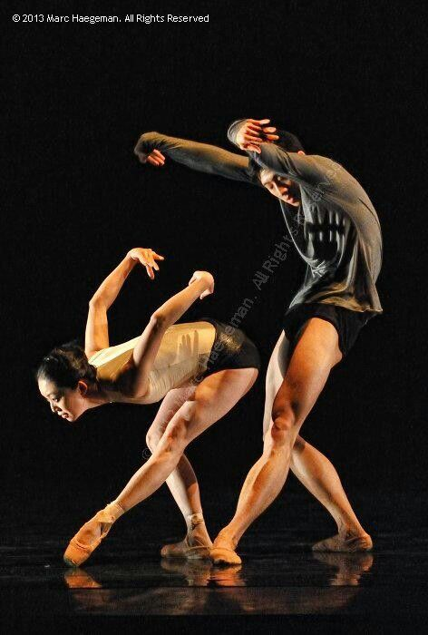 """Aki Saito and Wei Chen in """"Infra"""" (choreography by Wayne McGregor)-Royal Ballet of Flanders/photo by Marc Haegeman 2013"""
