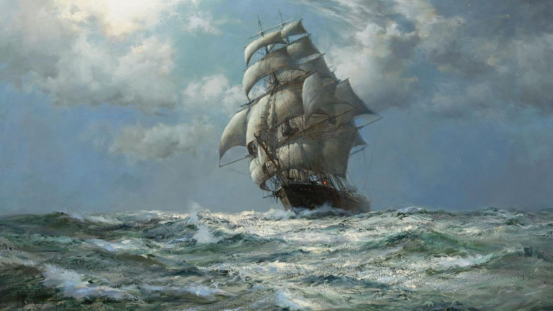 Wallpapers Sail Schooner Ship Ocean Painting Image Resolution X 1920x1080