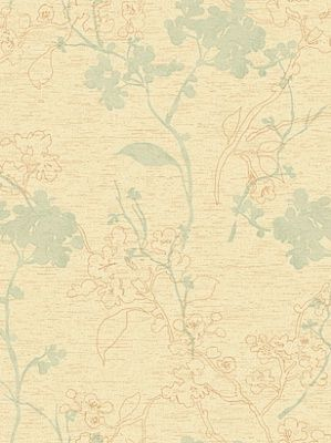 York Wallpaper Raised Floral Branch  $29.50 per roll #interiors #decor #dining room #beige #green