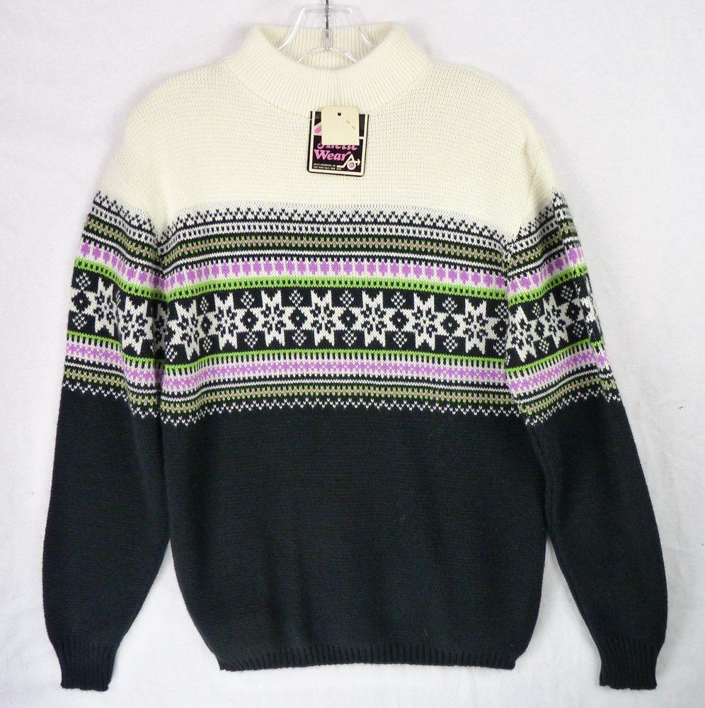 ce6a246d3 Vintage ArcticWear Arctic Cat Sweater Mens S M Snowflake Snowmobile Ski NOS  NEW  ArcticWear