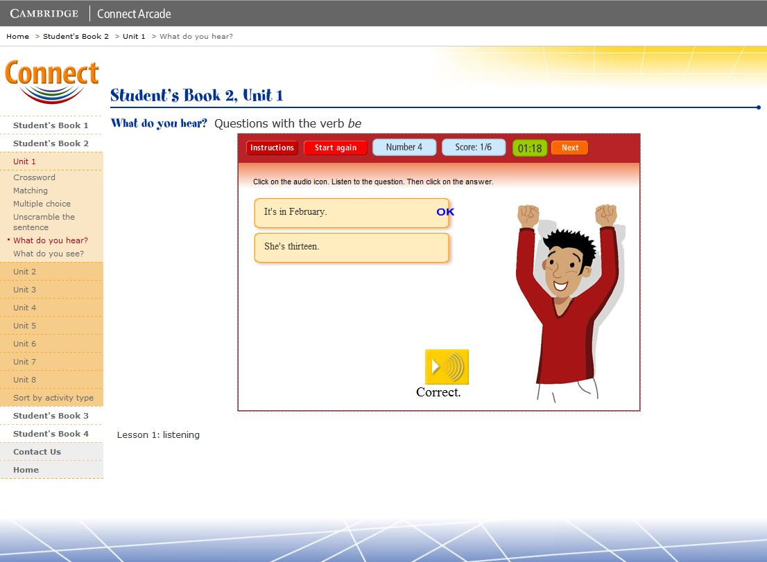 Connect Arcade: Students Book 2, Unit 1 What do you hear
