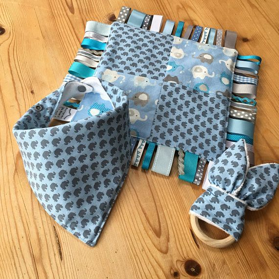 Super cute elephant themed baby set taggie blanket bibdana and super cute elephant themed baby set taggie blanket bibdana and teething ring blue negle Gallery