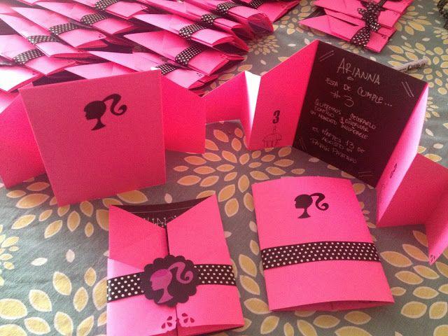 Hermosas Tarjetas De Invitación Motivo Barbie