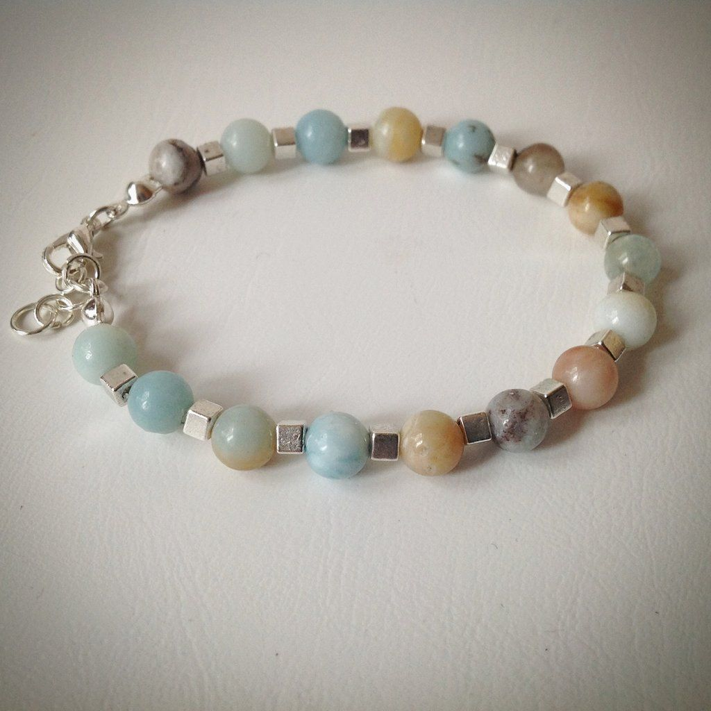 Beaded bracelet - multi-coloured Amazonite and silver cube beads