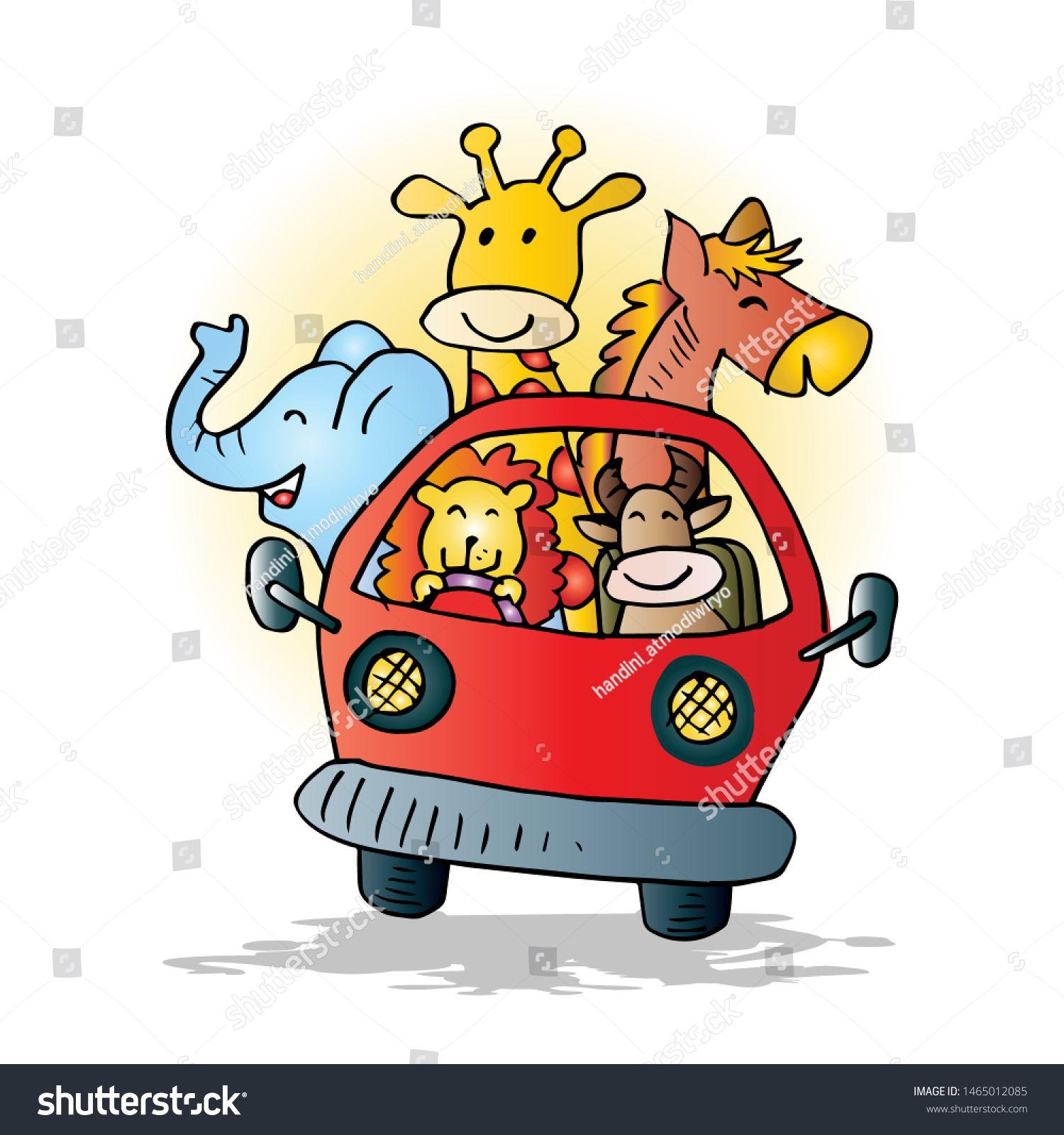 Cute Animals On Car Cartoon Illustration