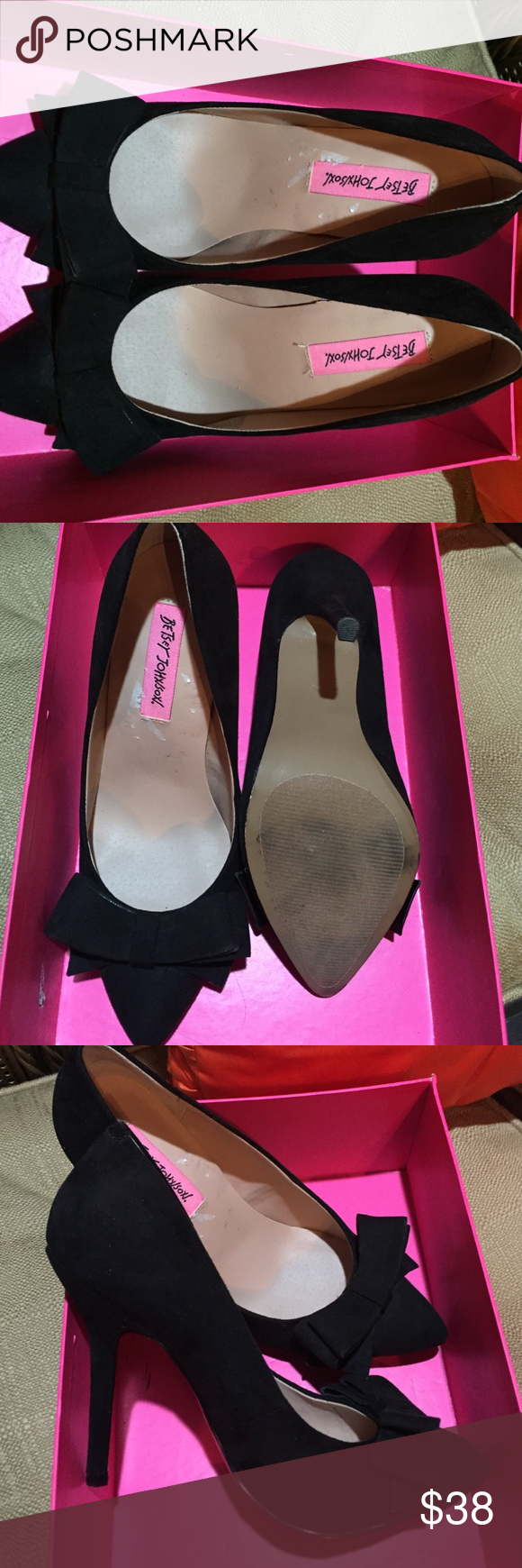 """Betsy Johnson stilettos LOVE some Betsy Johnson fashion!!!  Super Adorable stilettos in suede midnight black with a sleek bow accent on toe. (Only worn once) heel 3"""". Betsey Johnson Shoes Heels"""
