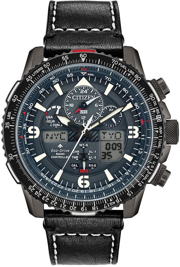 Citizen EcoDrive Men AnalogDigital Promaster Skyhawk At Black Leather Strap Watch 46mm  A Citizen EcoDrive Men AnalogDigital Promaster Skyhawk At Black Leather Strap Watc...