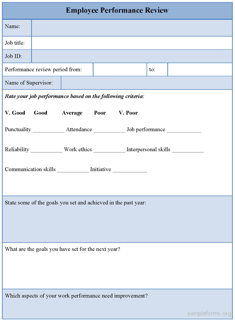 Employee Performance Review Forms Templates – Employee Review Form