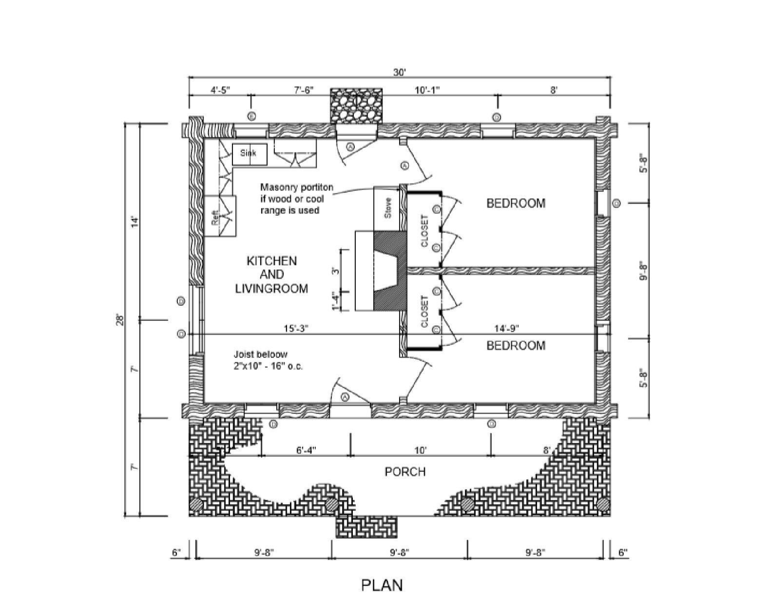 Log Cabin House Plans DIY 2 Bedroom Vacation Home 840 sq