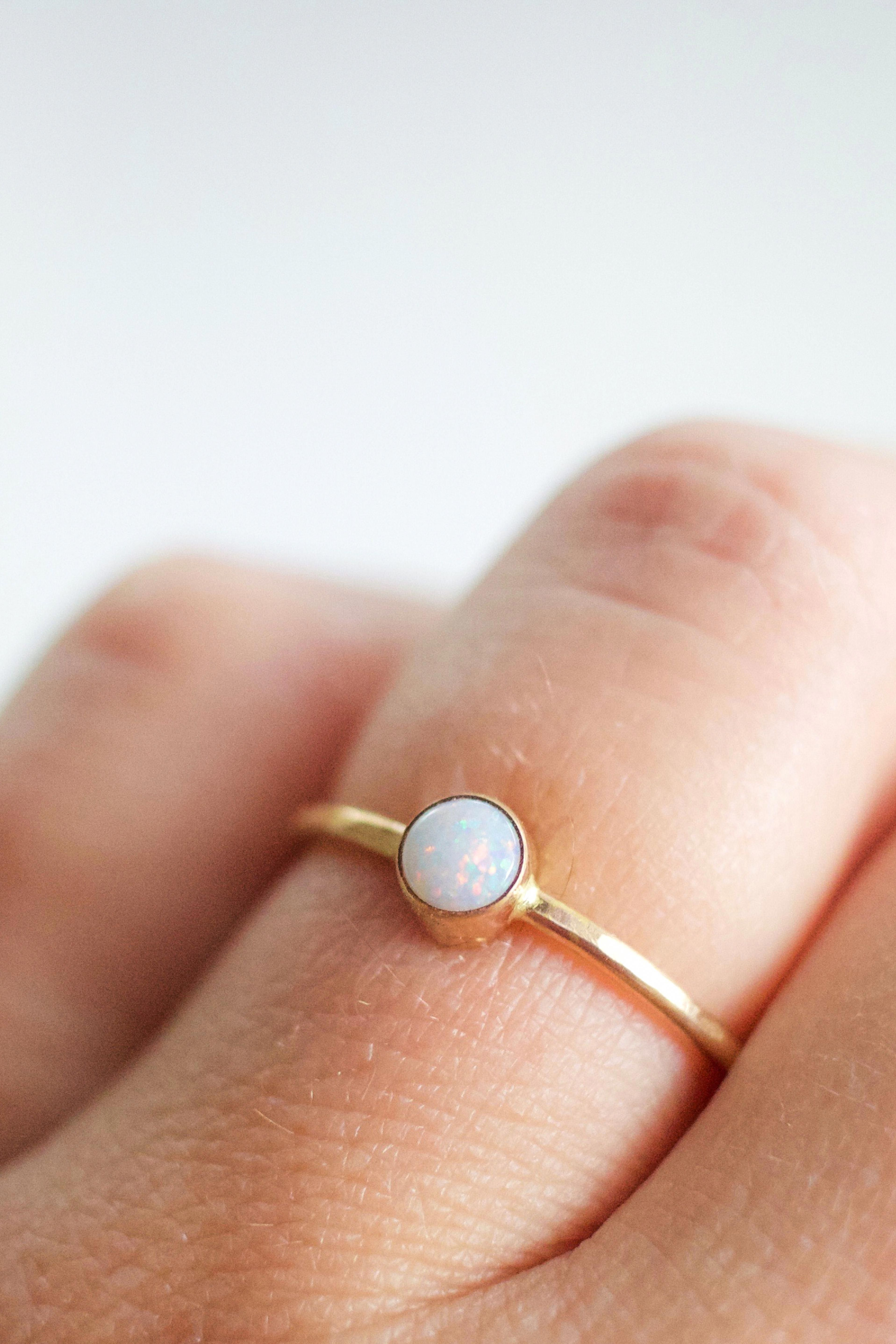 14k Solid Yellow Gold Natural Round Opal Gemstone Engagement Band Stackable Ring Handmade Minimalist Jewelry