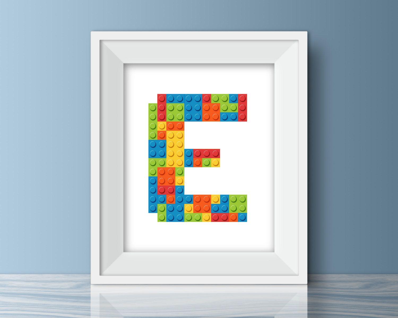 Lego Wall Art Lego Print Letter E Lego Nursery Art Printable