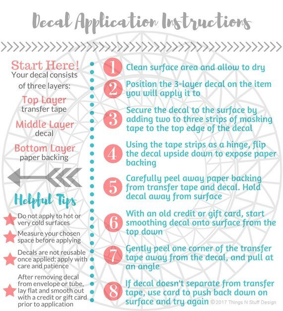 Decal Application Instructions Care Card Printable Care