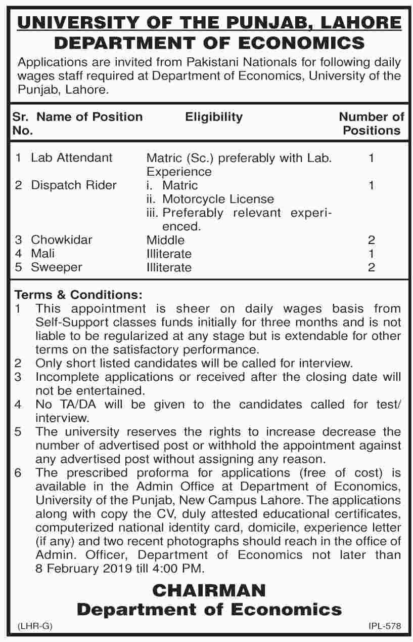 Jobs in university of punjab 2019,Lab attendant job in PU Latest