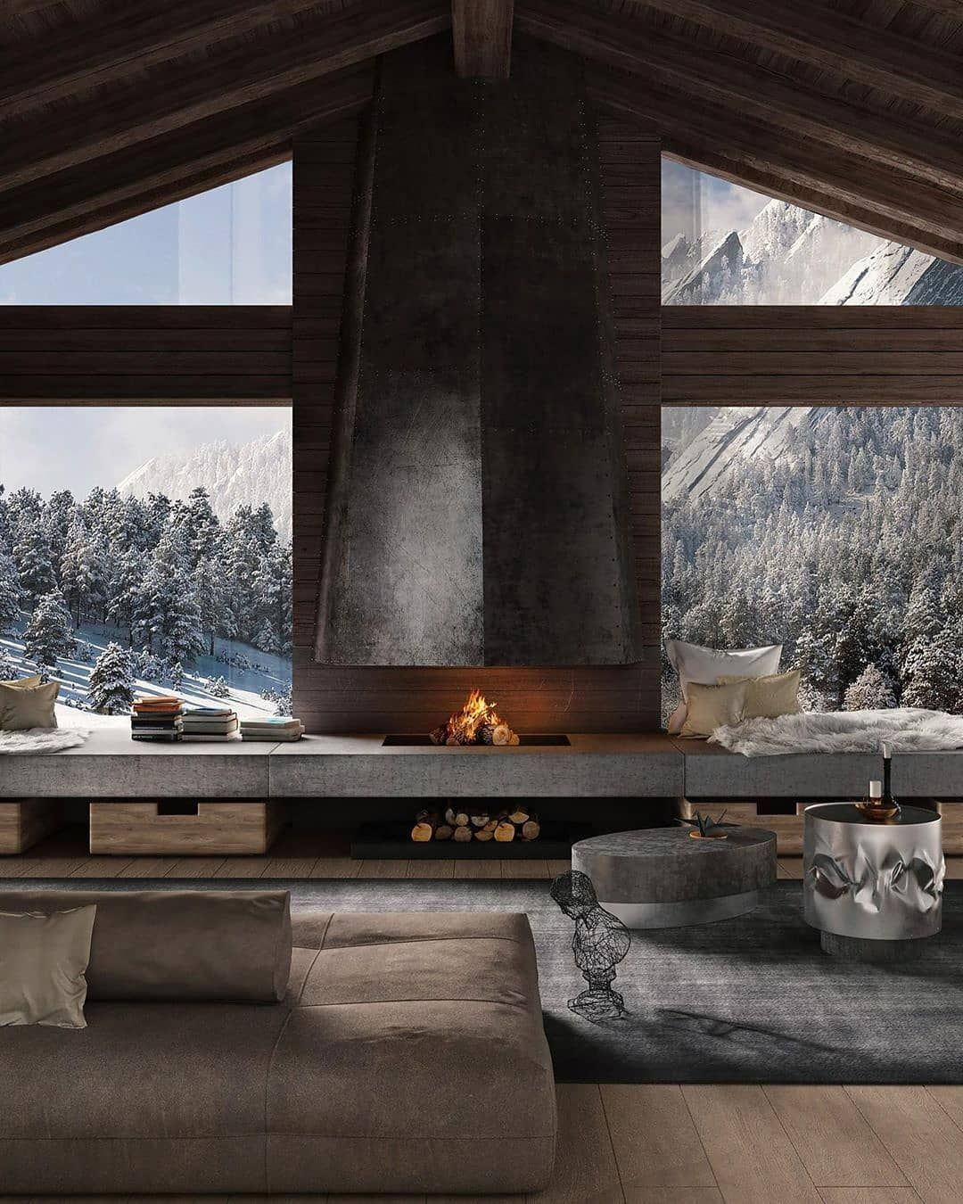 Interior Design Inspiration On Instagram Homeinteriordaily Chalet Style By Elizaveta Meleshenya Follow Homei In 2020 Fireplace Design Architecture Chalet Style