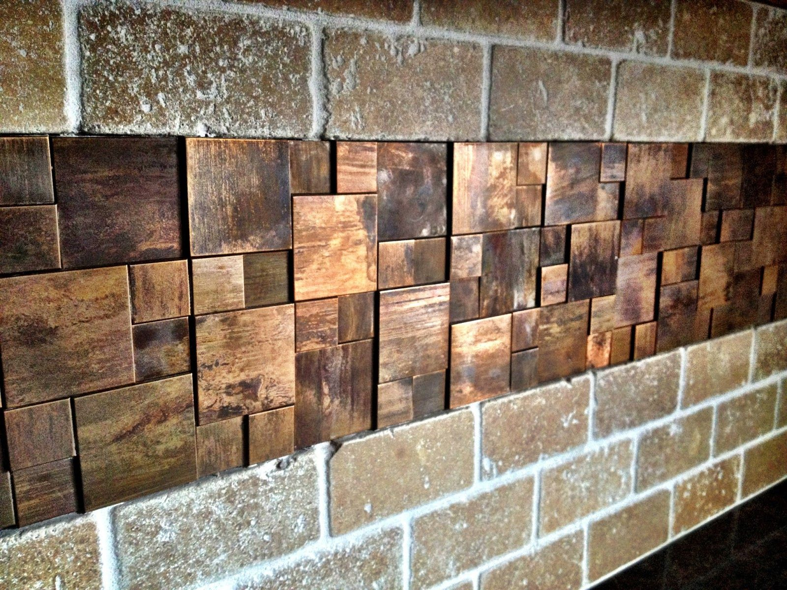 Brick With Penny Backsplash Instead Of Wood Shavings Copper Tile
