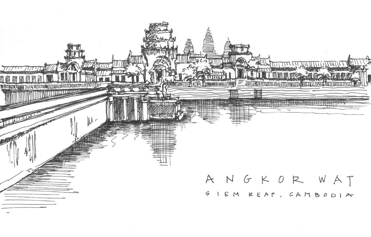 Sketches Of Angkor Wat Cambodia Asia Travel Europe Art