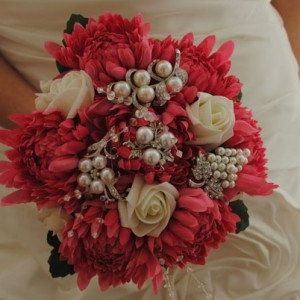 Cerise and Ivory Flower Brooch Posy Bouquet by ditsybride on Etsy,