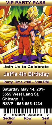Dragon Ball Z 5 Birthday Party Ticket Style Invitations