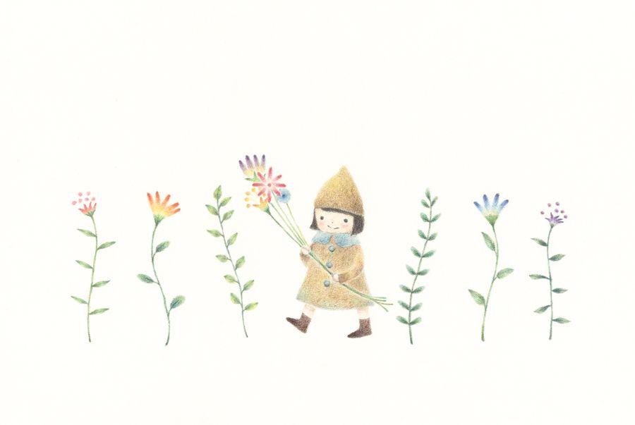 お花をもった小人の女の子 イラスト 小人 花 Illustration Girl