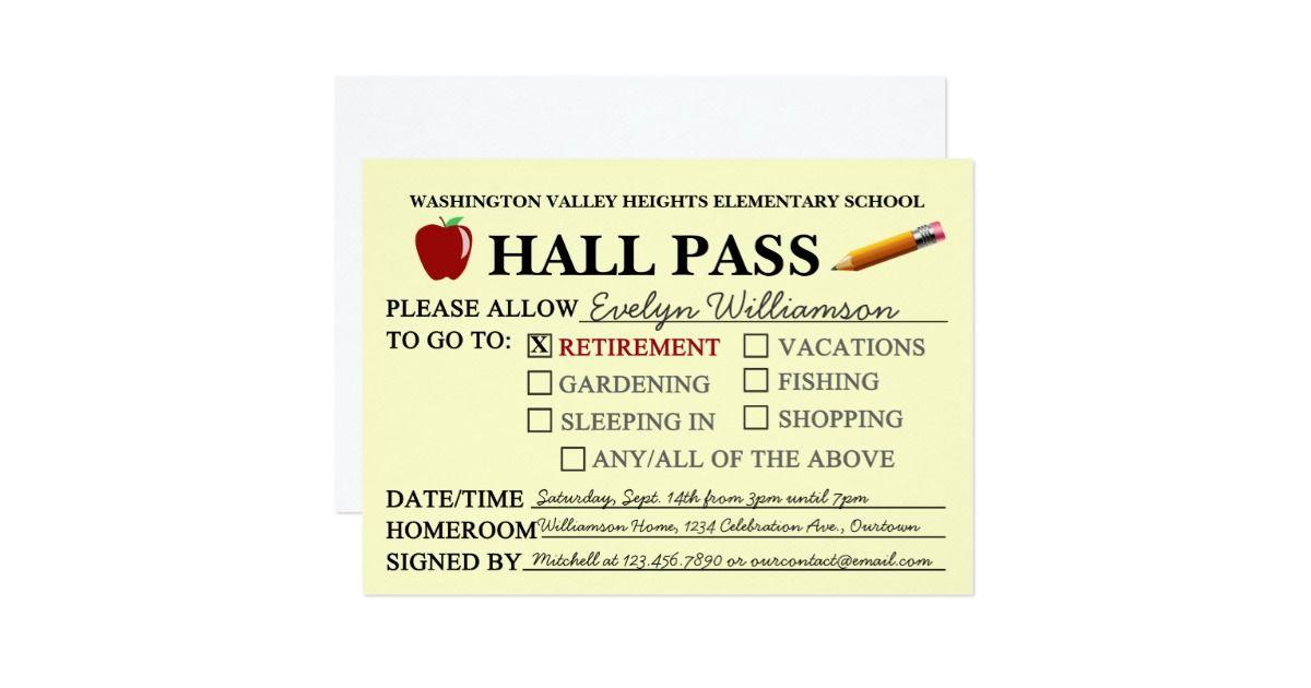 Retro Hall Pass Teacher Retiring Party Invitation Teacher
