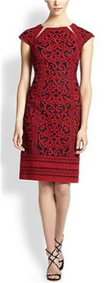 Tadashi Shoji - Embroidered Tulle Sheath Dress: The red and black combination is very modern – and, of course, makes wearing black shoes an easy decision.