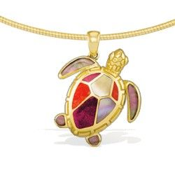 Yellow gold turtle pendant with spiny oyster inlay and mother of yellow gold turtle pendant with spiny oyster inlay and mother of pearl inlay chain additional mozeypictures Images