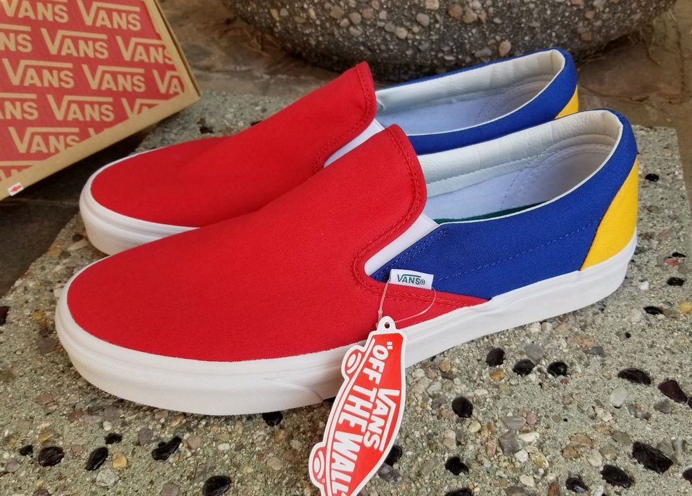 1f40b205ff6 VANS Slip-On YACHT CLUB Colorblocked Blue Red Yellow Green White Size 12   VANS  AthleticSneakers