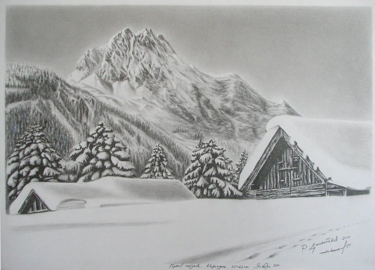 Landscape Drawings In Pencil By Rauf Janibekov Drawing Other Snow Mountain Landscap Landscape Pencil Drawings Mountain Landscape Landscape Drawings