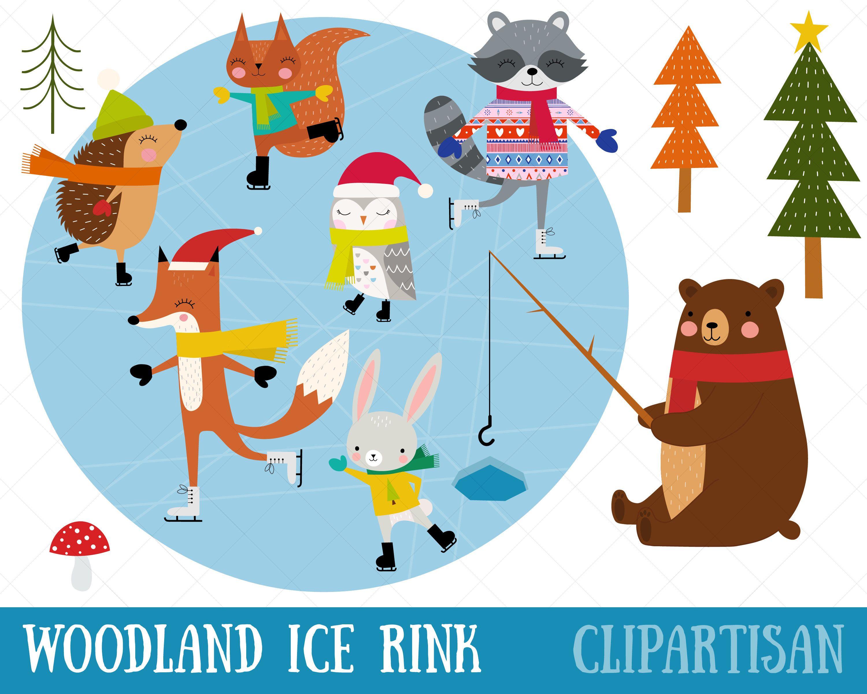 Woodland Animals Ice Skating Clip Art Christmas Ice Rink Etsy Woodland Animals Christmas Animals Clip Art