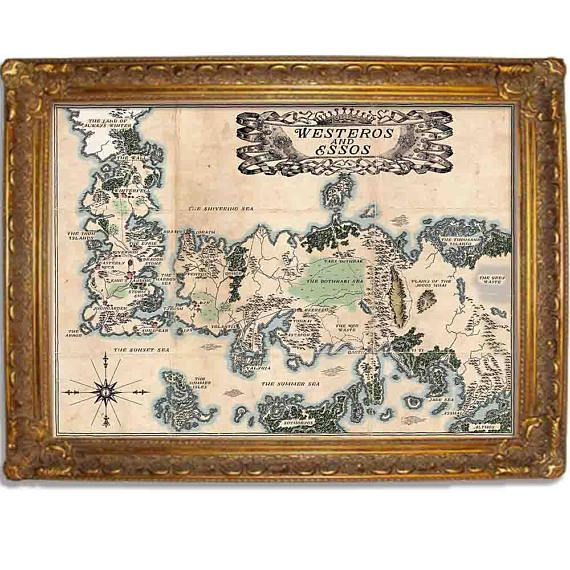 Westeros And Essos Vintage Style Map Game Of Thrones Map Two