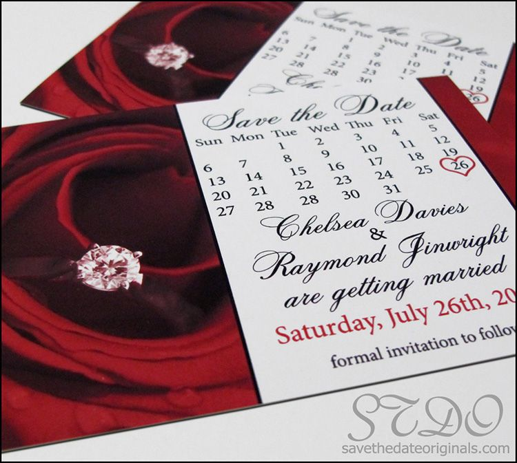 Romantic wedding save the date with calendar + rose; 4x3 inch magnet.