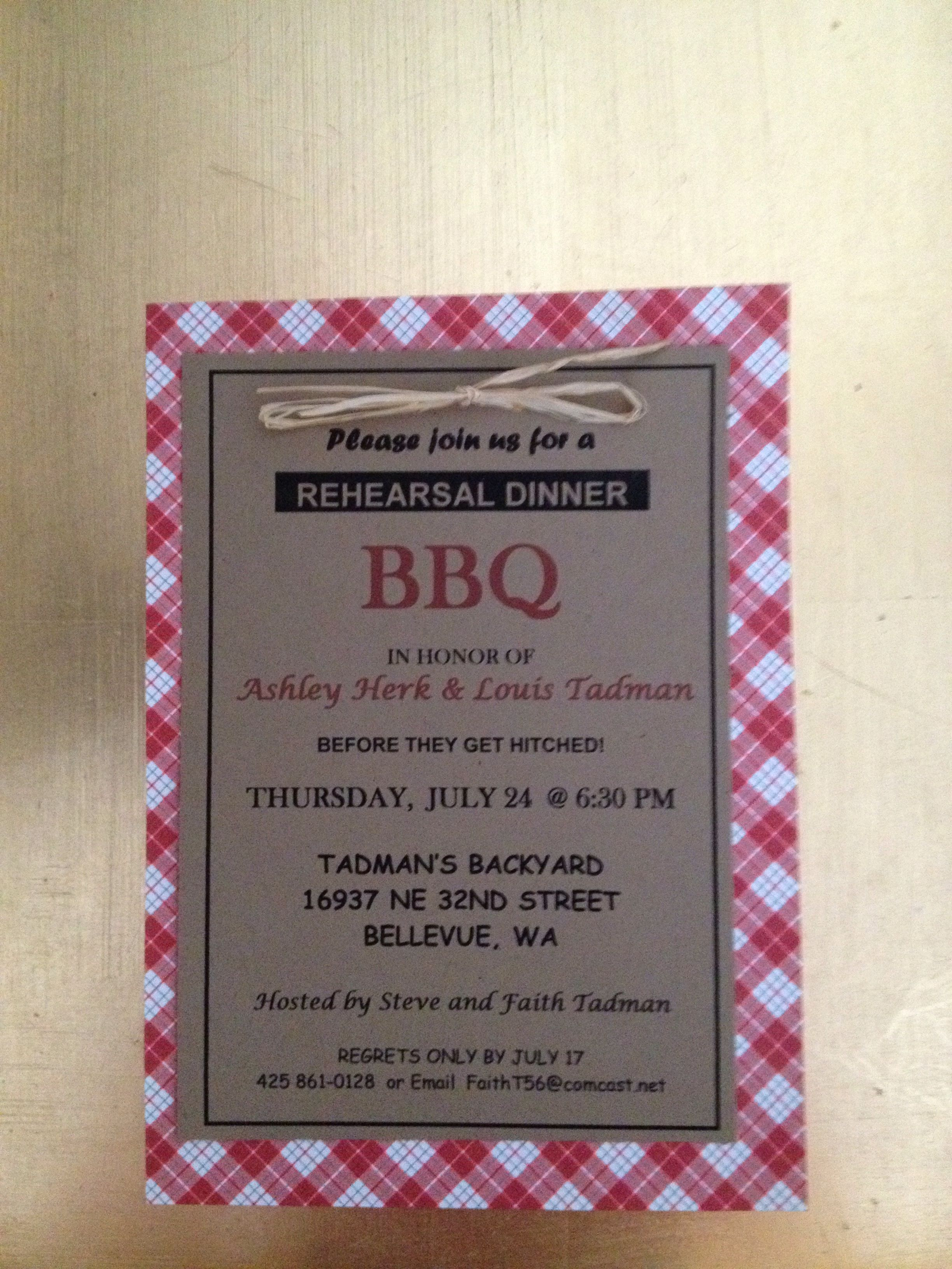 BBQ Wedding Rehearsal Dinner Invitation BBQ Wedding