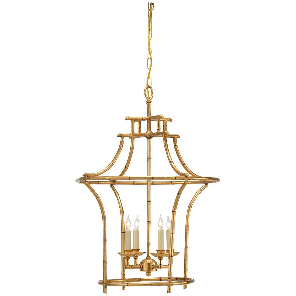 """Bamboo Antique Gold Chandelier Antique gold faux bamboo frame 20"""" w x 20"""" d x 29"""" h Bulb Code: Candelabra Base Number of bulbs: 4 Wattage: 25 - 40 W"""