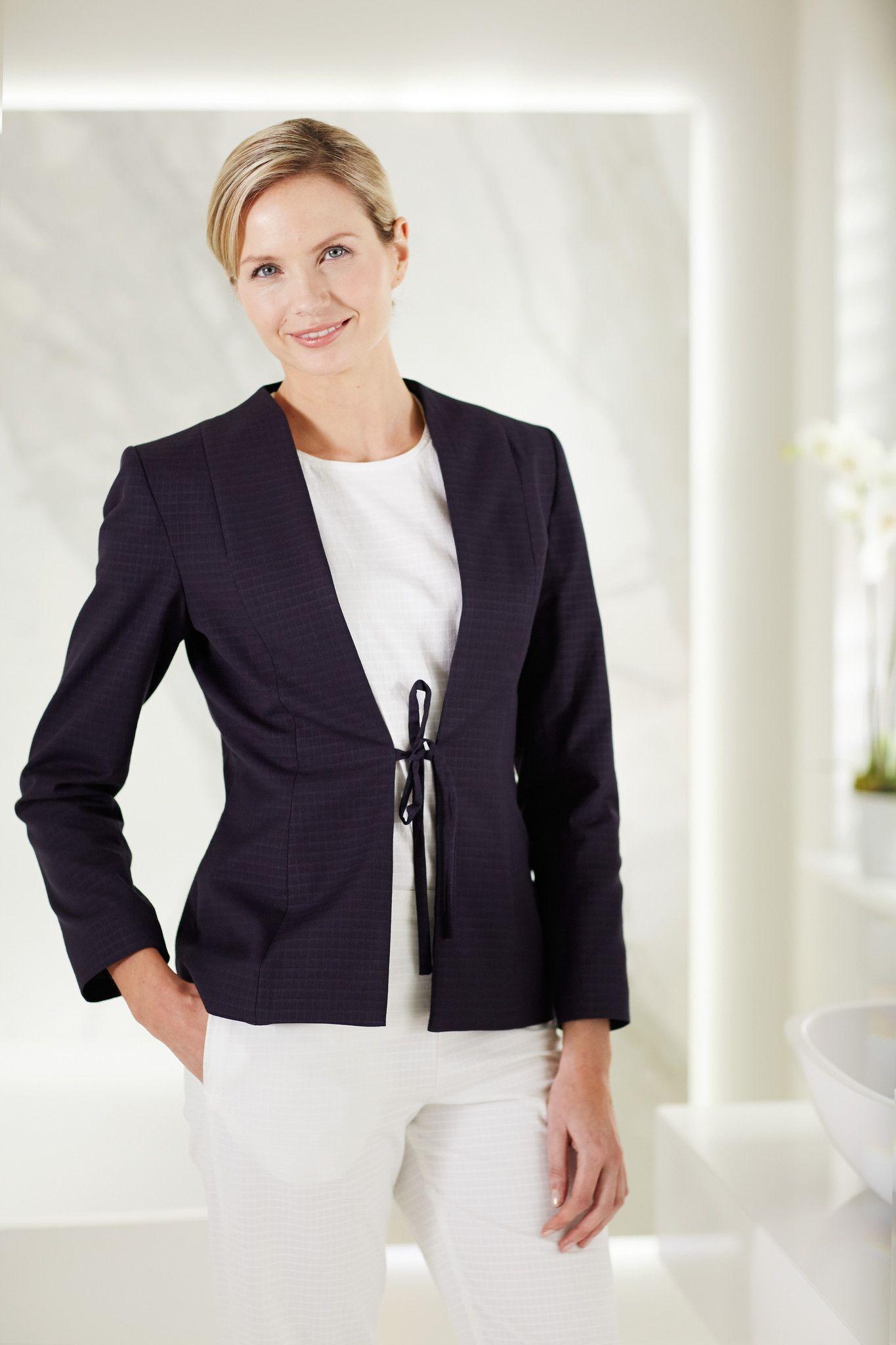 Azla jacket navy spa fashion spa uniform hotel for Spa uniform fashion