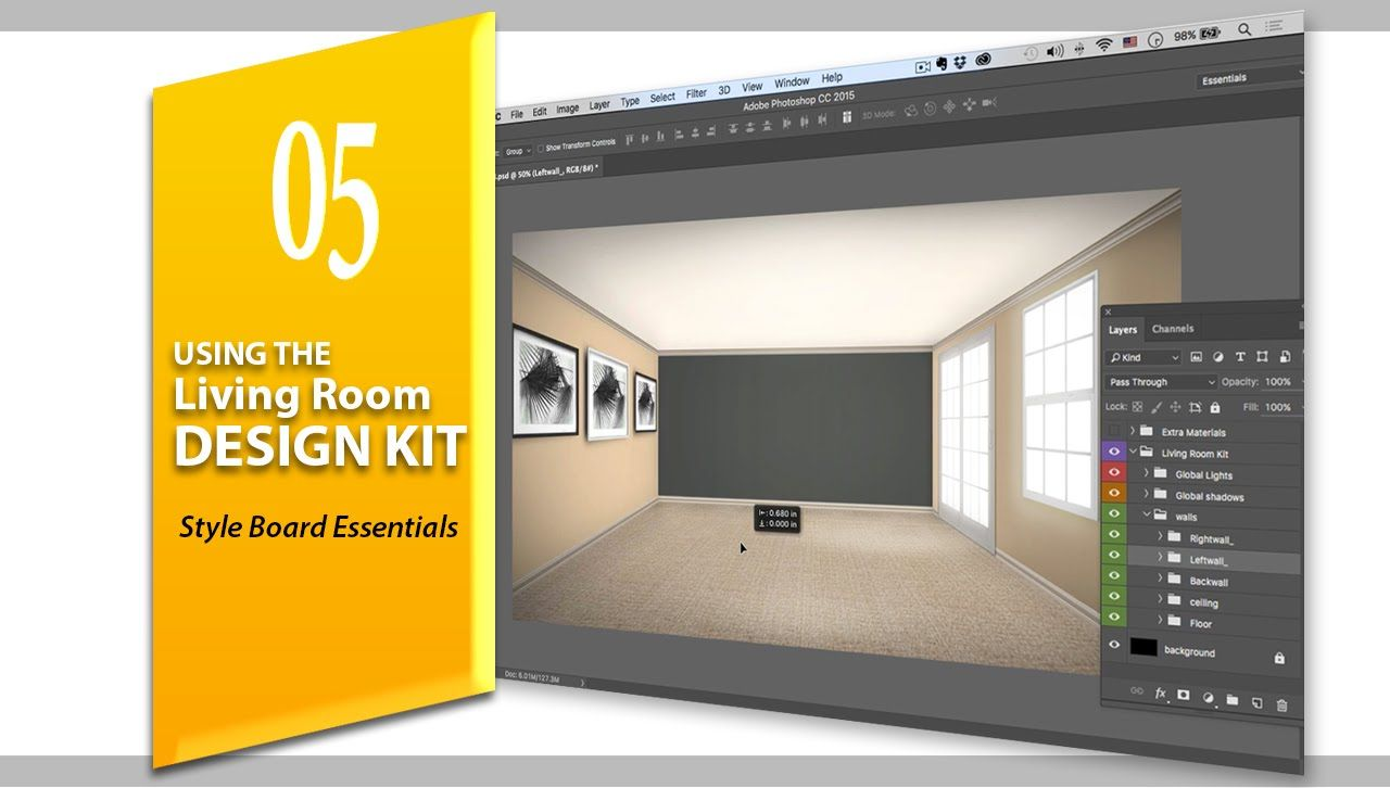 Using The Living Room Design Kit Style Board Essentials For Interior Photoshop Cc