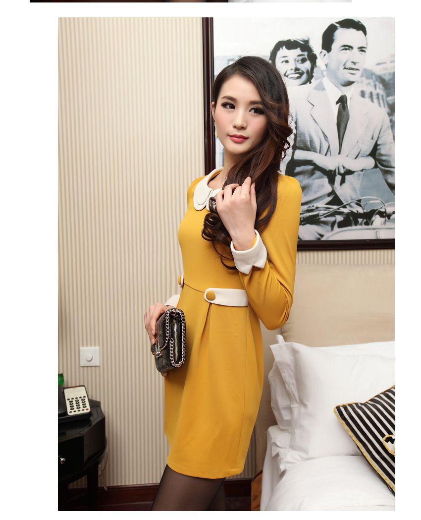 Yellow dress long sleeve  Gatheredwaist Long sleeve Dress YRB yellow  amaRllo  Yellow