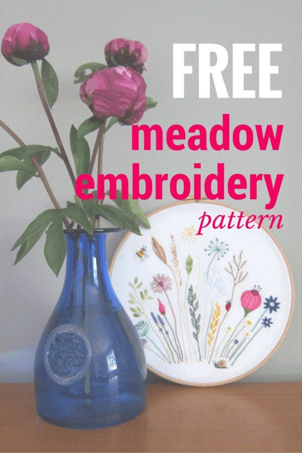 Free Floral Meadow Embroidery Pattern Embroidery Pinterest