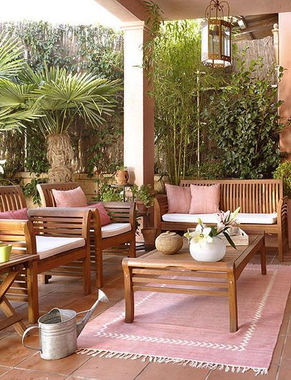 Ideas para decorar y equipar un salón al fresco Madera de teca - como decorar una terraza