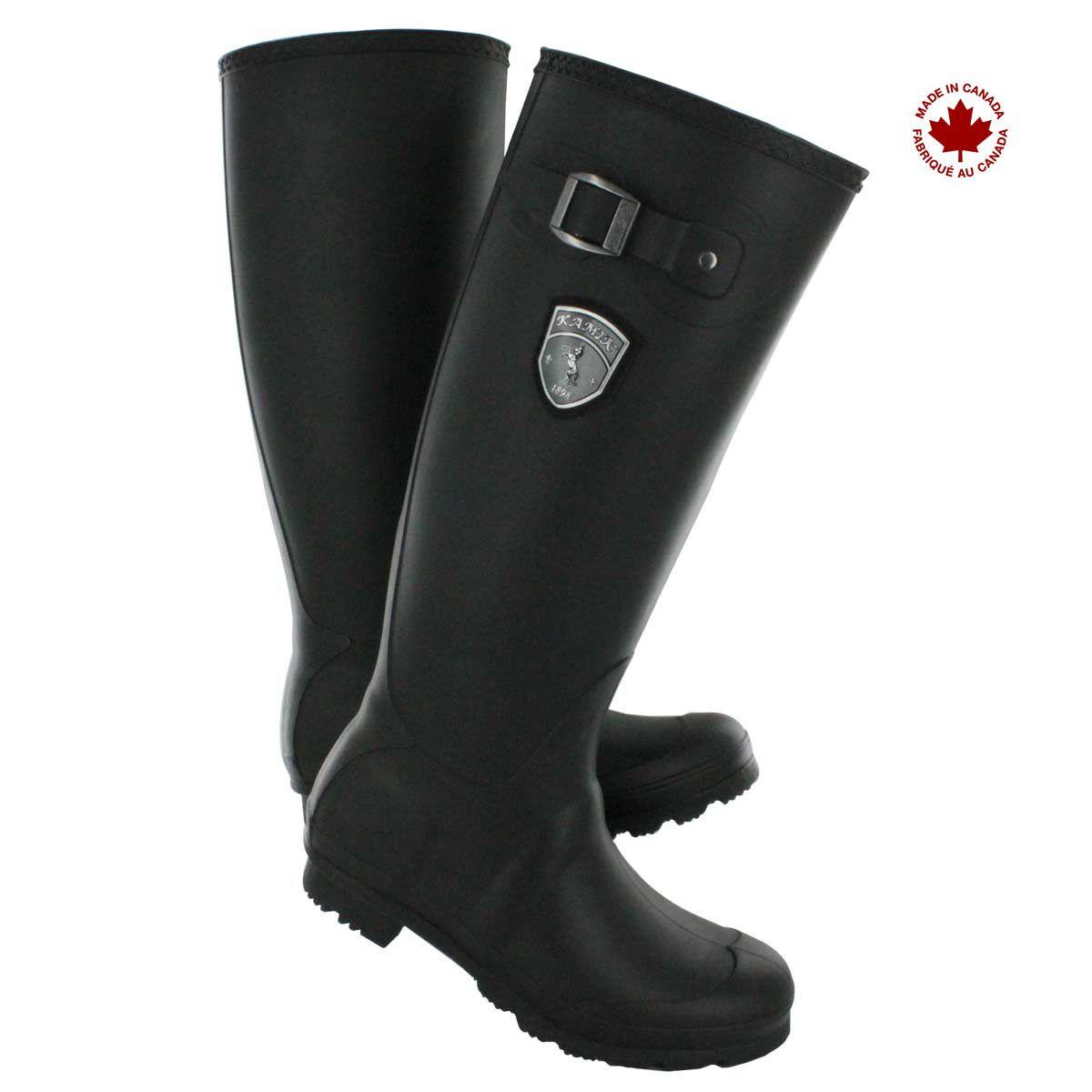 Kamik Women's JENNIFER black side buckle tall rain boots JENNIFER BLK