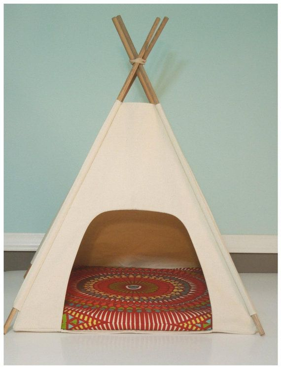 Dog/Cat Teepee Pet Tent -Small 24  base Natural Canvas PICK YOUR PILLOW Ready to Make or Custom Order it - Tenthouse Suite by Vintage Kandy & Dog/Cat Teepee Pet Tent -Small 24