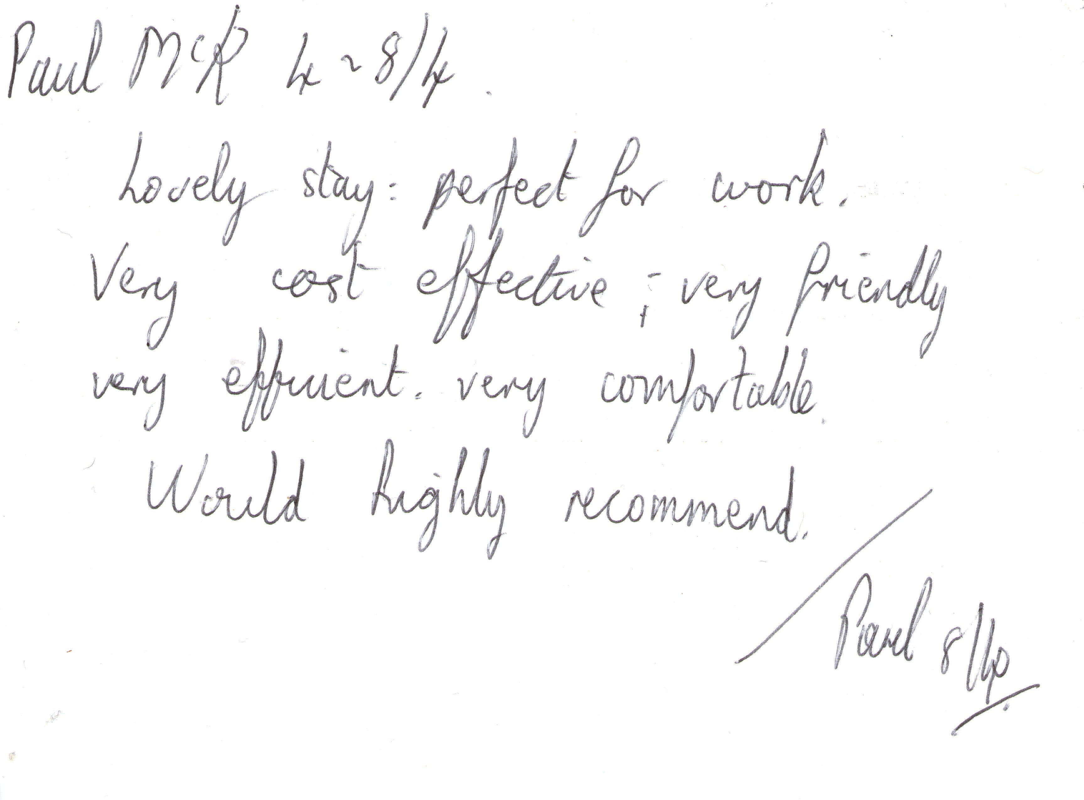 Guest feedback after a five night stay in one of our standard single bedrooms.