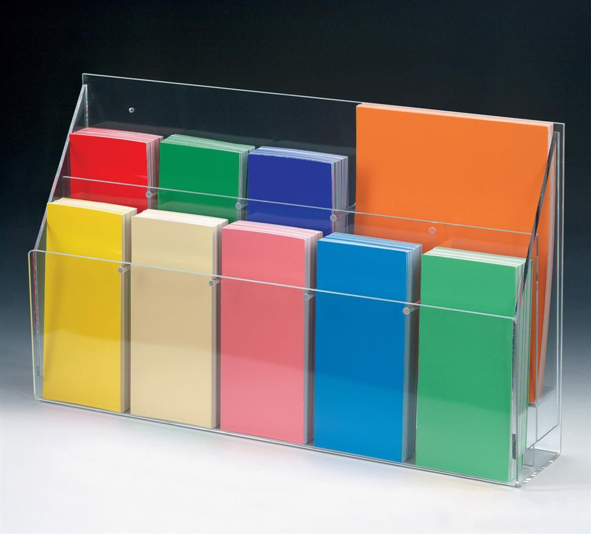 2 Tiered Acrylic Literature Holder for Table or Wall 10 Adjustable Pockets Clear