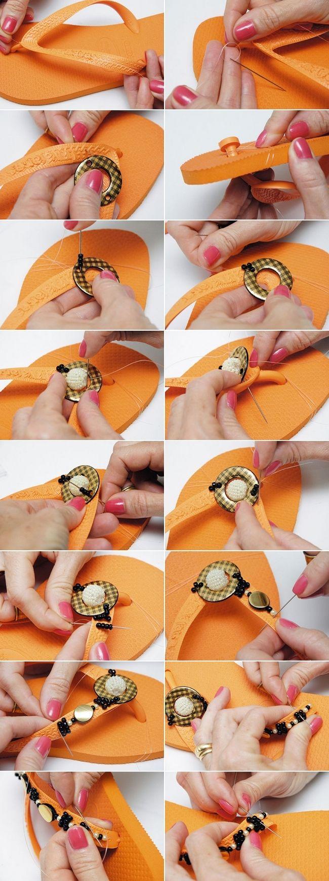 handmade flip flops decorations beads orange black gold. handmade flip flops decorations beads orange black gold