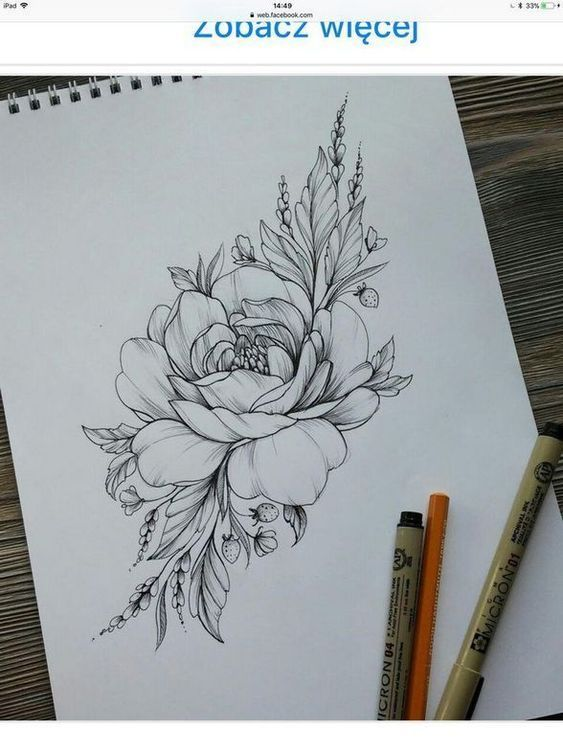 Beautiful flower tattoo drawing ideas for women 1 | Wagepon Ideas  #flowertattoos - flower tattoos